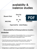Bioavailability & Bioequivalence Studies