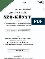 Kassai József - Származtató, s gyökerésző magyar-diák szó-könyv. 1833.1.kötet
