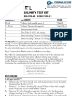 LaMotte 7459-01 Salinity POL-H Direct Reading Titrator Kit Instructions