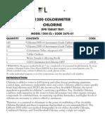 LaMotte 3670-01 DC1200-CL Chlorine Colorimeter Tablet DPD Kit Instructions