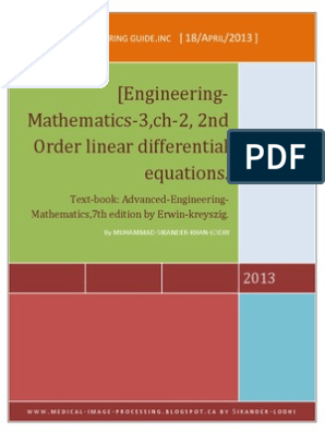 Engineering Math -3 ,Ch-2, 2nd Order ODE, 2nd Order Ordinary