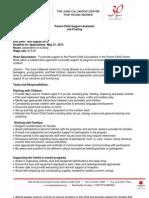 Summer Job Opportunities 2013 Parent-Child Support Assistant