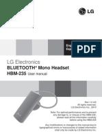LG HBM-235 Bluetooth Headset Manual