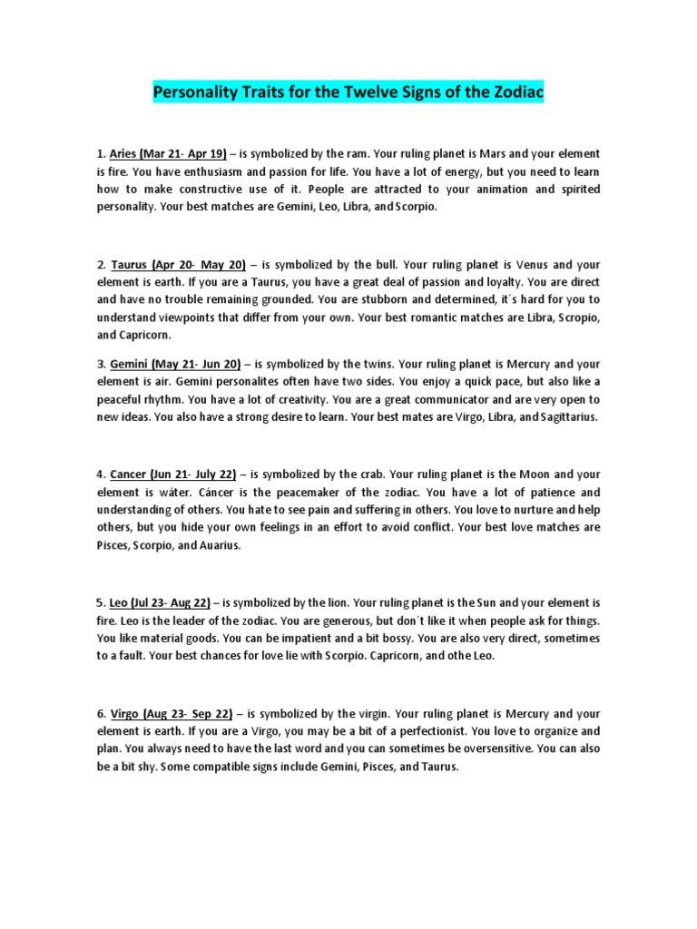 Personality Traits for the Twelve Signs of the Zodiac docx