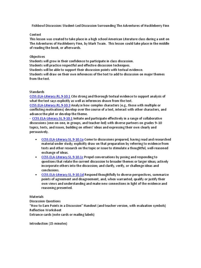 Metz Fishbowl Discussion Lesson Plan Conversation Cognitive Science