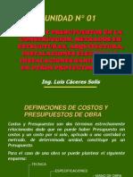 Unidad I Curso_Costos y Presupuestos de Obras