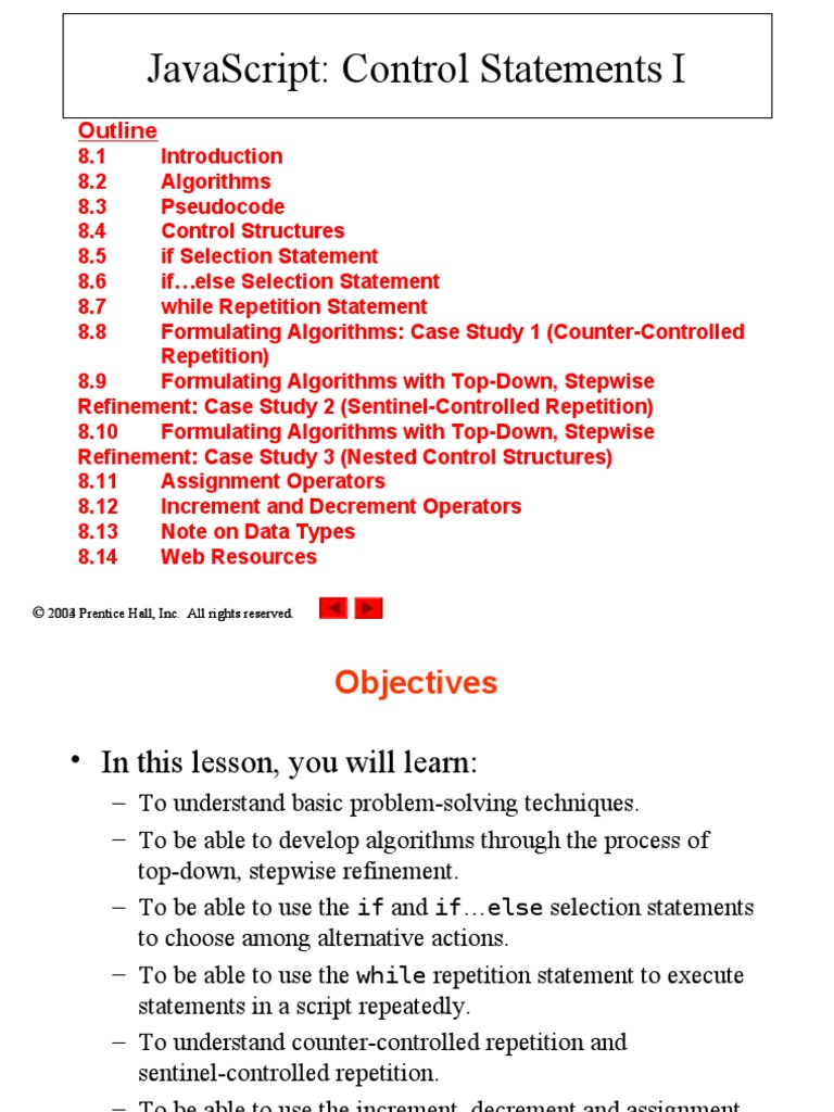 Java Script Control statements 1 - notes   Xhtml   Html