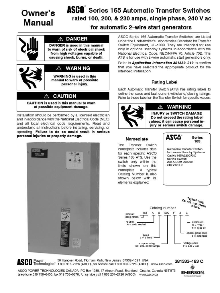 ats asco 165 series switch alternating current asco 165 control board asco 165 wiring diagram #8