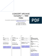 Concert Archive Catalogue 1600