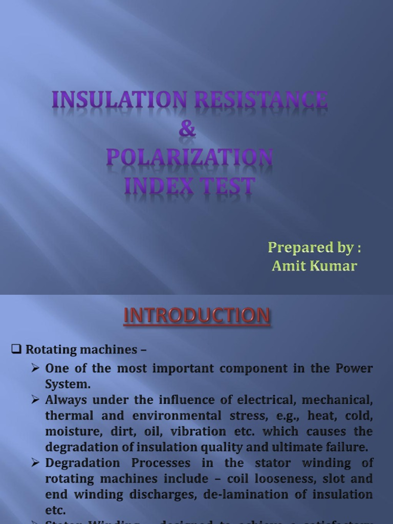 Polarization Index Test | Insulator (Electricity) | Electrical ...