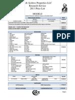 2011 Archive Properties Price List