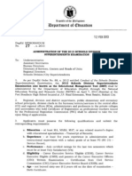 DepEd Memo No. 27, s. 2013-Administration of the 2013 Schools Division Superintendents Exam