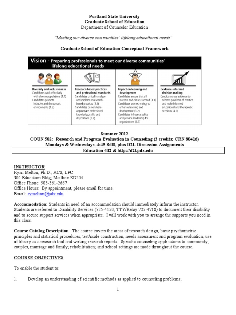 Coun 582 Research And Program Evaluation In Counseling Program