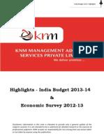 KNM Union Budget 2013-14