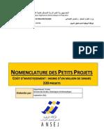 Nomenclature DES PETITS PROJETS Version II