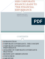 Higher Corporate Governance Leads to Better Financial Performance