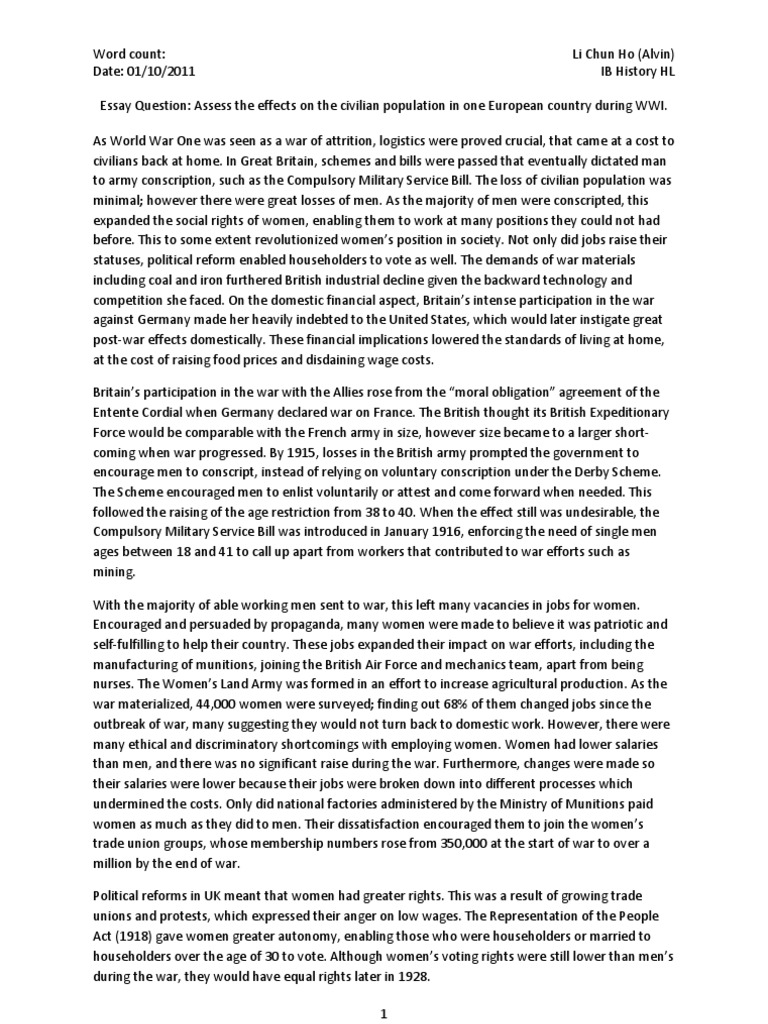 essay question assess the effects on the civilian population in one  essay question assess the effects on the civilian population in one  european country during wwi  united kingdom  world war i college english essay topics also example thesis statement essay narrative essay papers