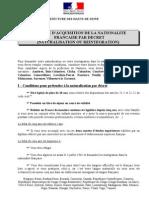 NANTERRE Naturalisation Par Decret Liste de Pieces Jan2012
