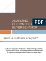 Analyzing Customers and Buyer Behavior