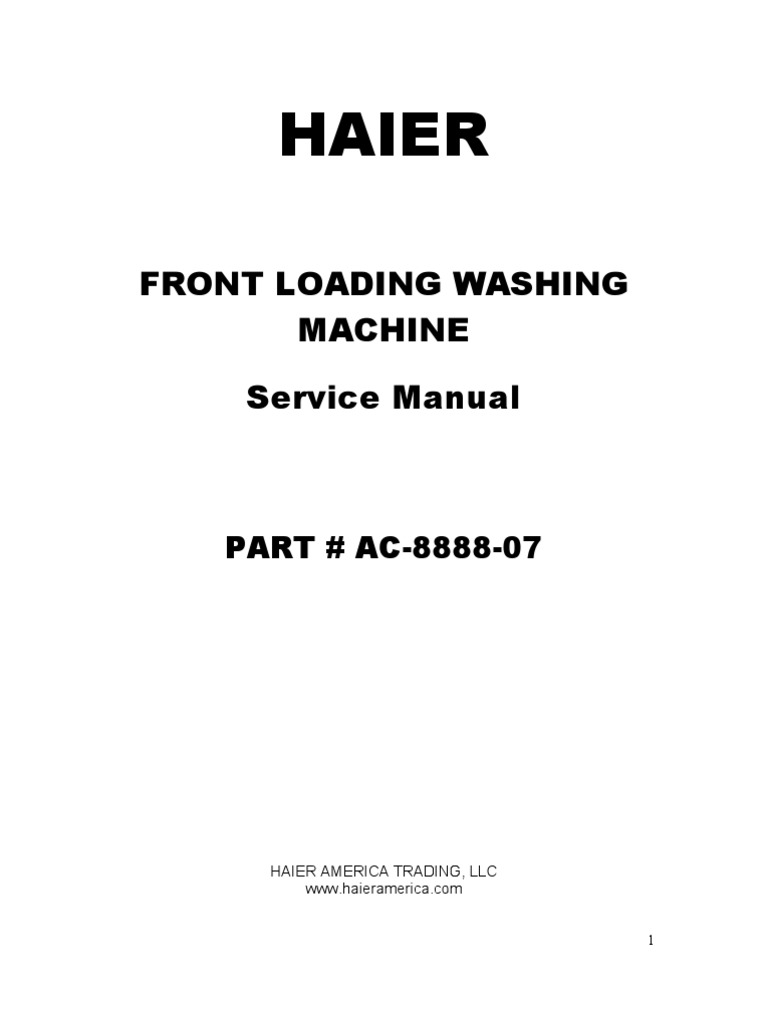 Haier Front Load Washer - XQG50 - QF802 Ser Man | Washing Machine |  Building Engineering