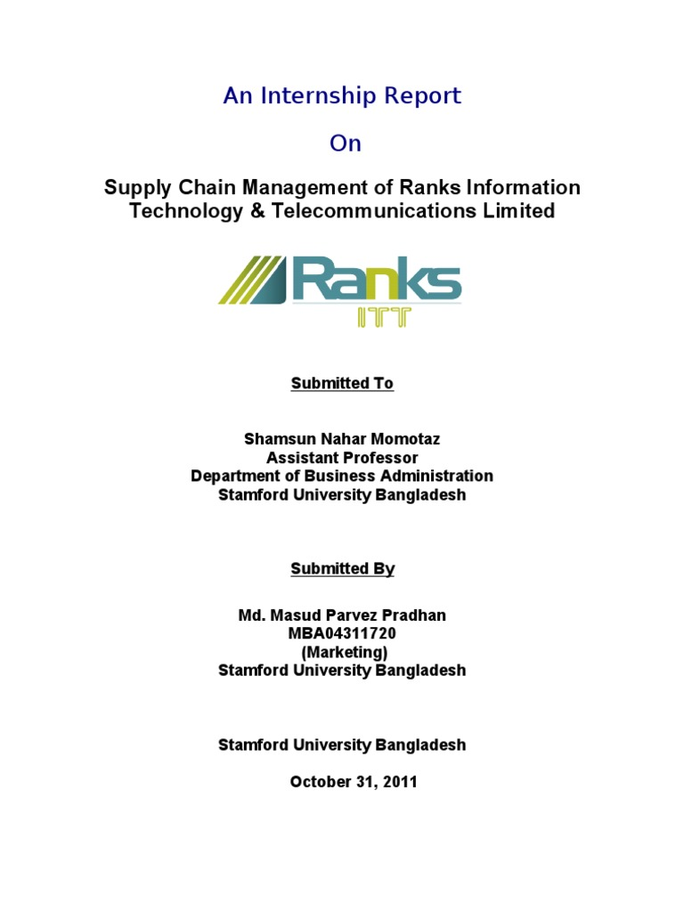 An internship report logistics supply chain management yadclub Choice Image