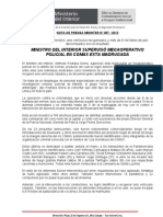 MINISTRO DEL INTERIOR SUPERVISÓ MEGAOPERATIVO POLICIAL EN COMAS ESTA MADRUGADA