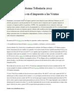 Reforma Tributaria 2012 Cambio en El IVA