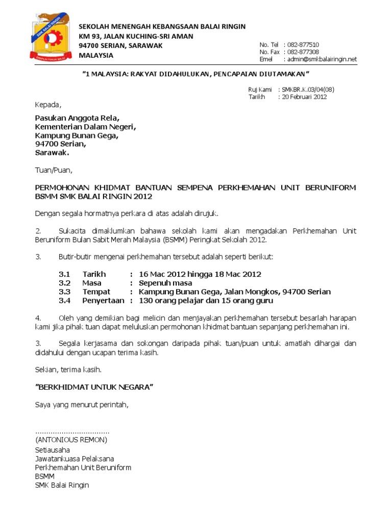 8. Surat Mohon Bantuan Kepada Anggota Rela