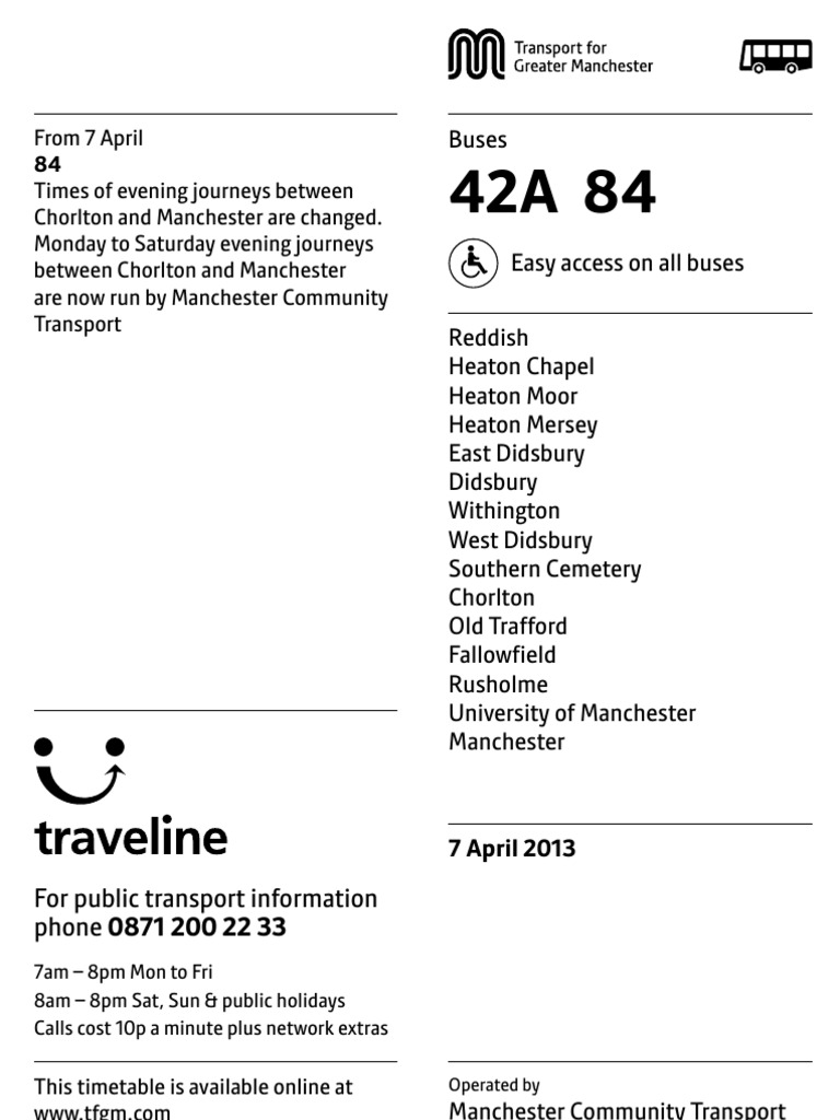 13-0293 Bus Times 42A 84 | Bus | Public Services
