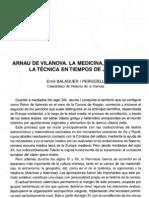 Balaguer; Arnau de Vilanova, La Ciencia y La Medicina