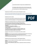Reglamentos para la organización de funcionamiento de organizaciones estudiantiles del nivel medio