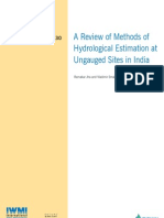 A Review of Methods of Hydrological Estimation at Ungauged Sites in India