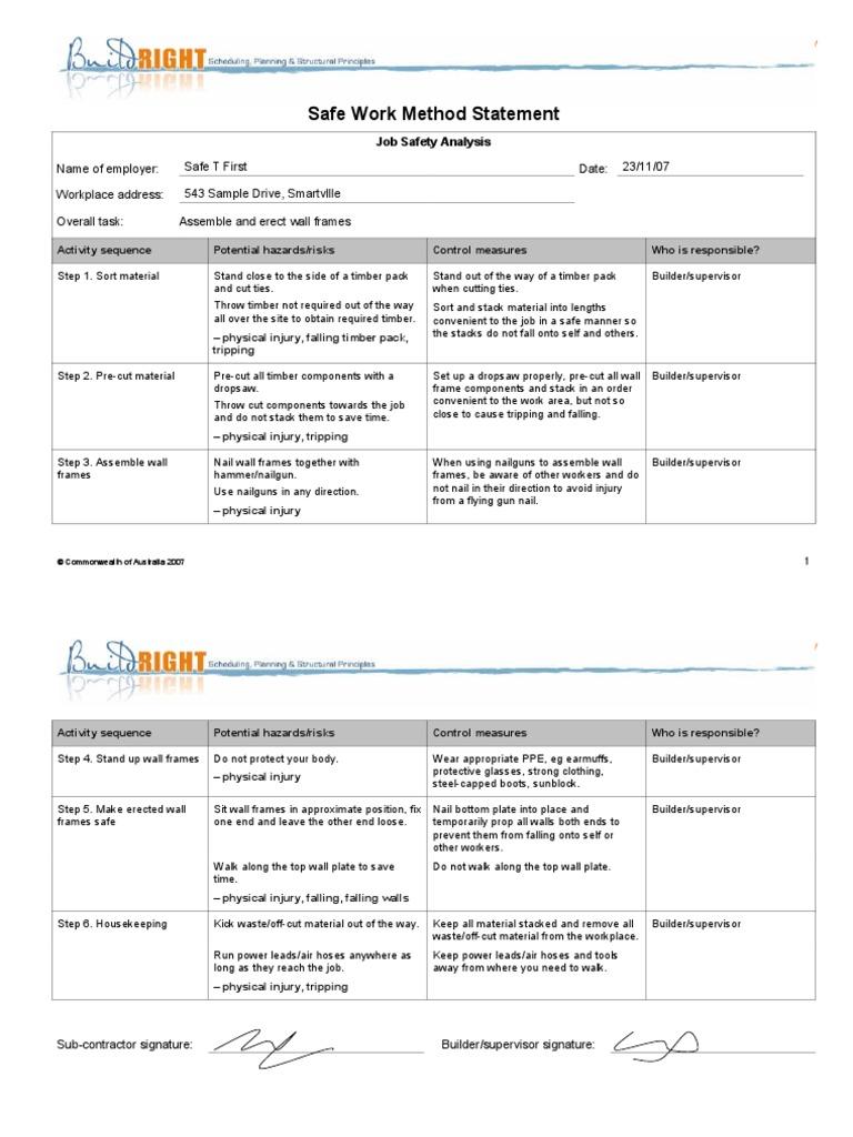 Example Safe Work Method Statement | Lumber | Safety