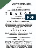 Rumy Károly György - Magyar emlékezetes irások 1.kötet 1817.
