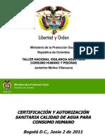 Certificación y Autorización Sanitaria Calidad Agua Consumo Humano.