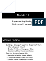 Module 11 - Implementing Strategy; Culture and Leadership