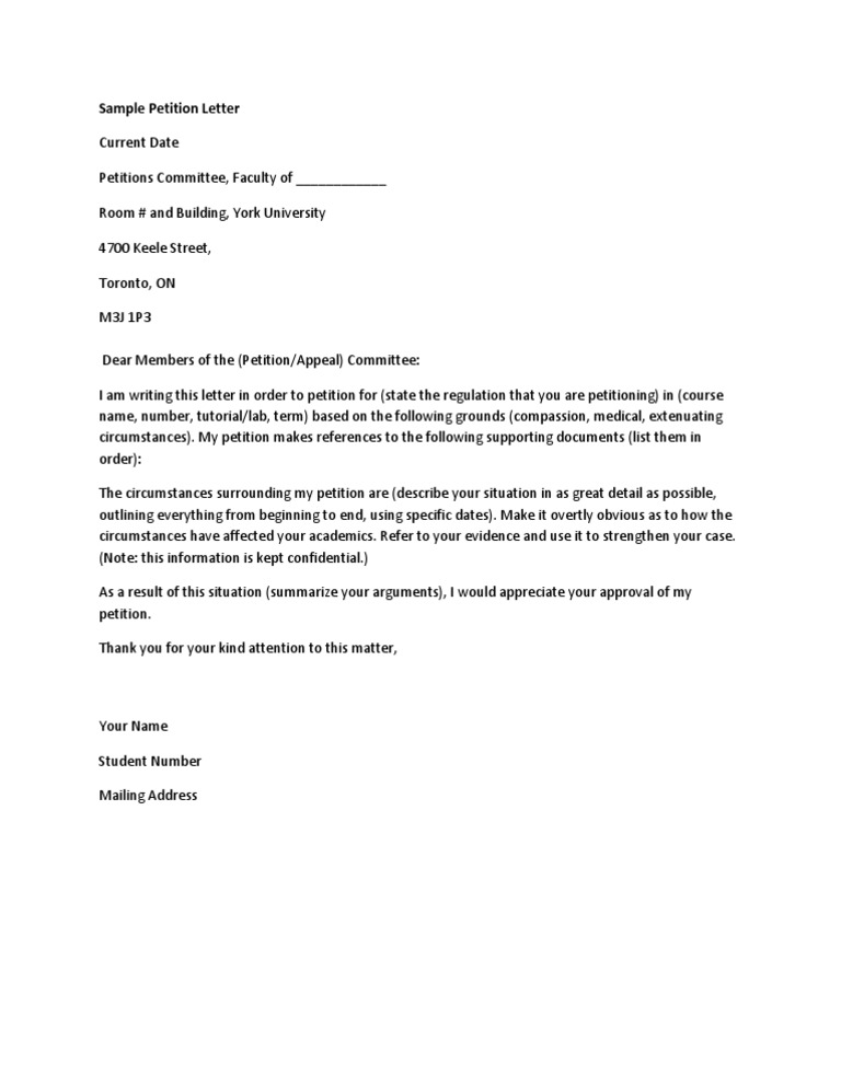 petition sample These samples include all of the required elements for a student petition letter (date, a clear statement of the requested action, a description of the conditions.