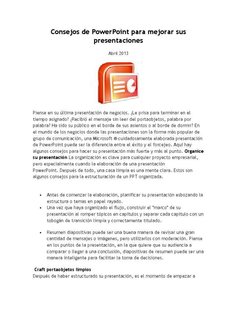 Consejos de PowerPoint Para Mejorar Sus Presentaciones