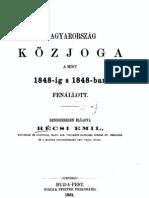 Récsi Emil - Magyarország közjoga a mint 1848-ig s 1848-ban fennállott ( 1861 )