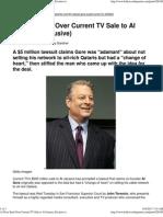 Al Gore Sued Over Current TV Sale to Al Jazeera-Feinsteins Husb