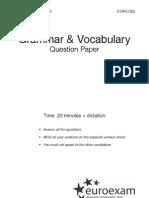 Nyelvismeret és szókincs (Grammar & Vocabulary) - Question paper
