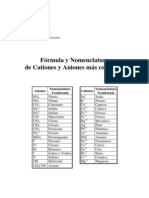 Fórmula y Nomenclatura de Cationes y Aniones