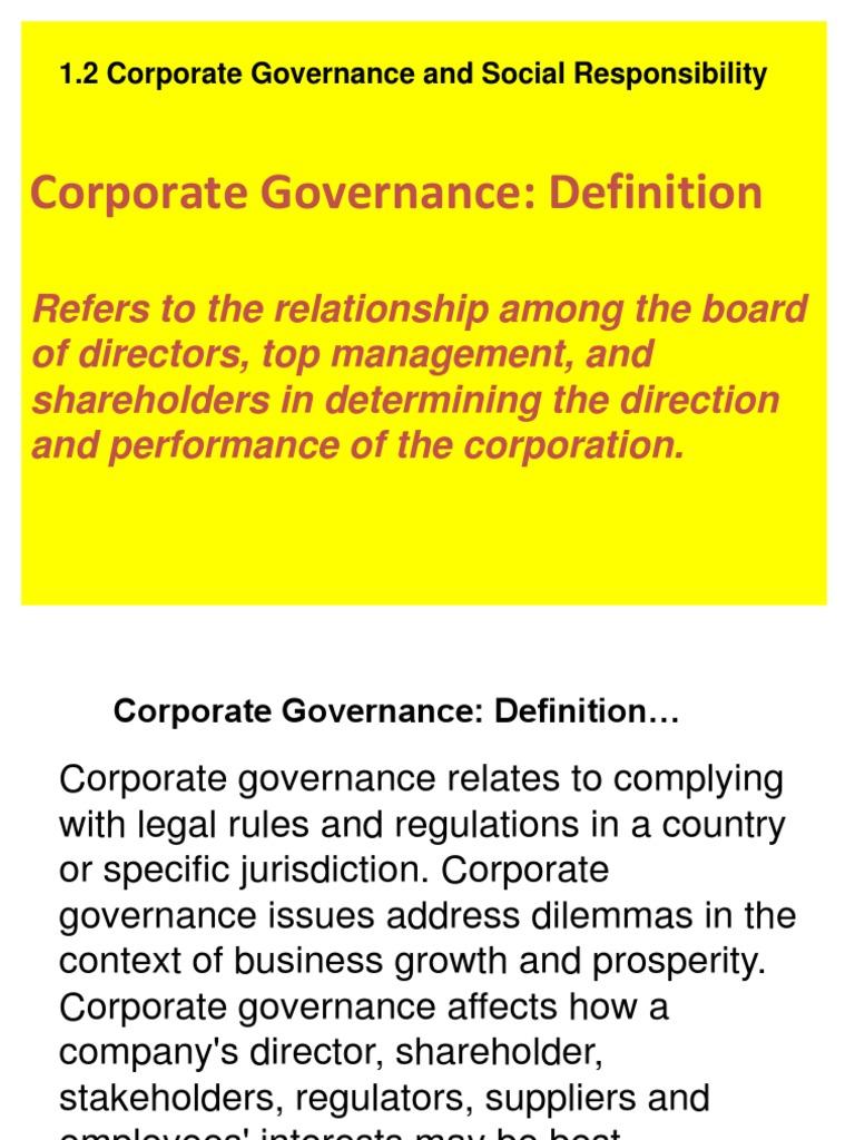 1.2 governance and social responsibility | corporate governance