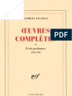 Georges Bataille Oeuvres Completes Tome II Ecrits Posthumes 1922-1940