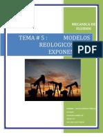 Modelos Reologicosy Ley Exponencial