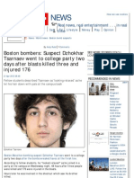 Suspect Dzhokhar Tsarnaev Went to College Party Two Days After Blasts Killed Three
