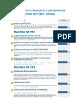 Contenido de Entrenamiento Diplomado en Coaching Cristiano Virtual.