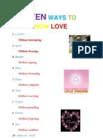 Ten Ways to Show Love