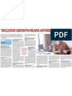 Inclusive Growth Means Affordable Finance BUsiness Standard, September 10, 2010