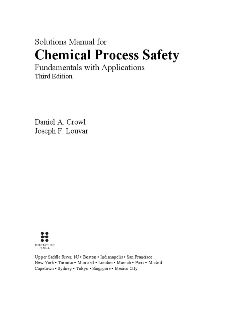 solution manual chemical process safety 3rd edition
